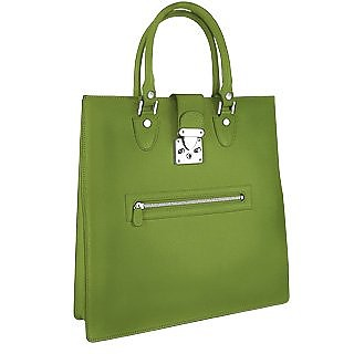 Front Zip Calf Leather Large Tote Handbag - L.A.P.A.
