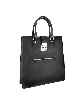 Front Zip Calf Leather Large Tote Handbag