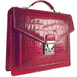 Croco-embossed Front Pocket Compact Briefcase - L.A.P.A.