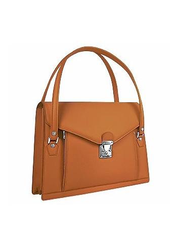 Double Compartment Calf Leather Women's Briefcase - L.A.P.A.