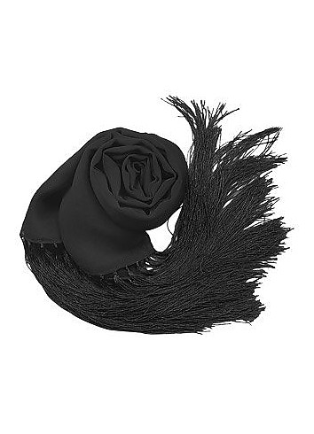 Solid Pure Silk Fringed Long Scarf - Basile