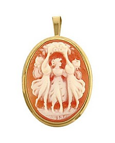 Young Girls Cornelian Cameo Pendant / Pin - Del Gatto