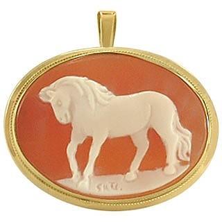 Horse Cornelian Cameo Pendant / Pin  - Del Gatto