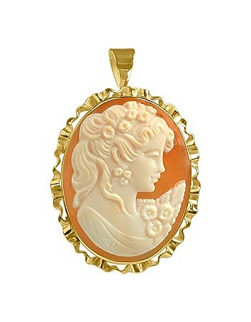 Young Woman Cornelian Cameo Pendant / Pin