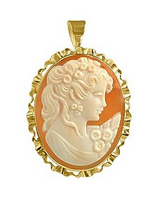 Young Woman Cornelian Cameo Pendant / Pin  - Del Gatto