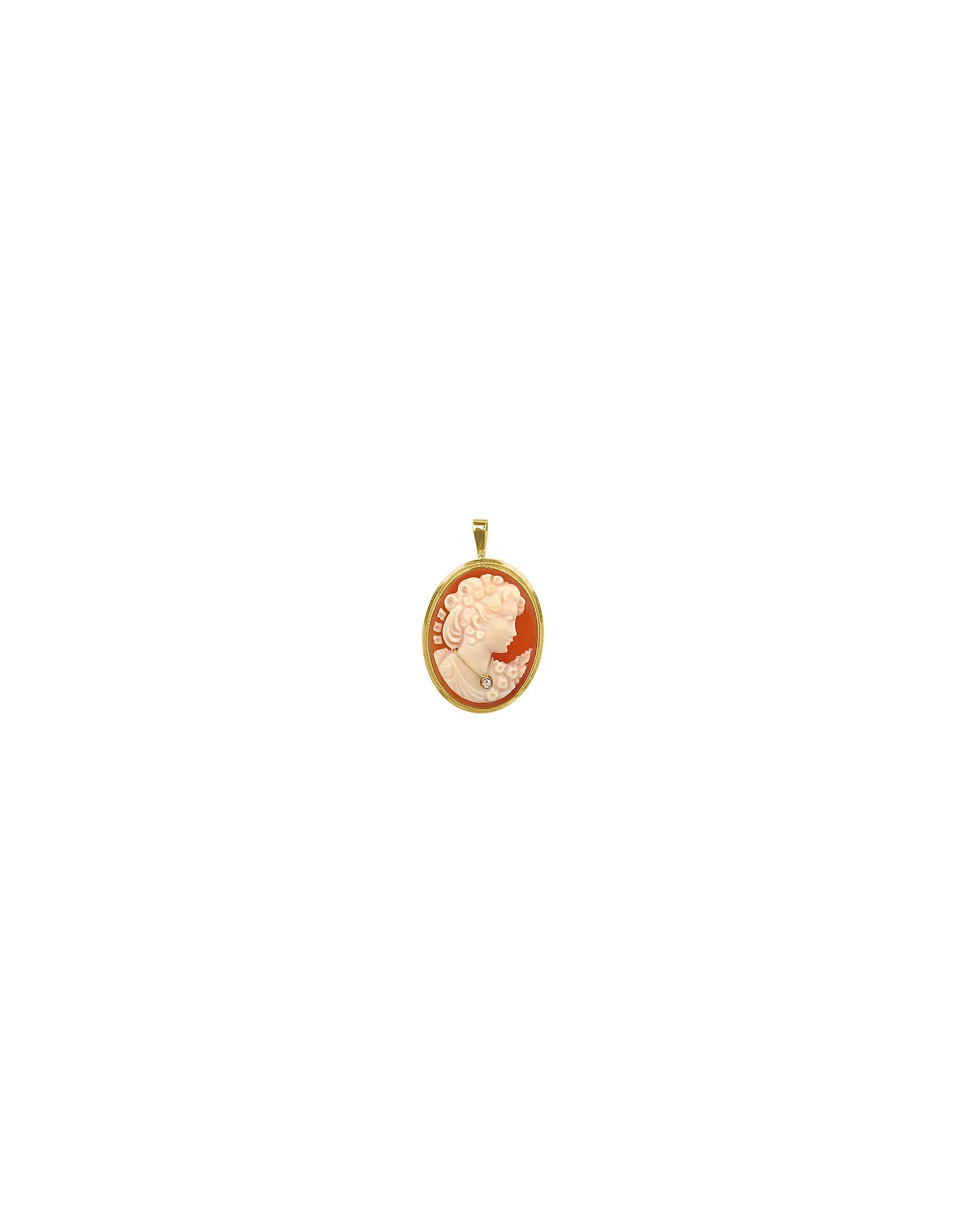 Del Gatto Cameo, Woman with Diamond Necklace Cornelian Cameo Pendant / Pin