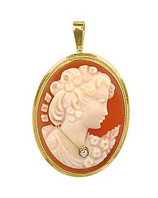 Woman with Diamond Necklace Cornelian Cameo Pendant / Pin  - Del Gatto