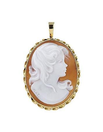 Del Gatto Camée broche à la jeune fille en or 750 et coquillage