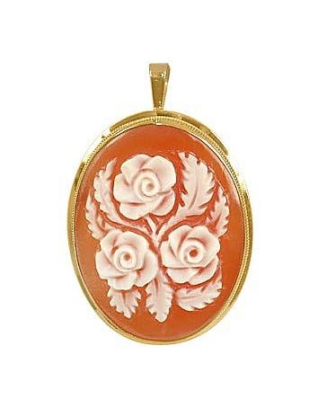 Roses Cornelian Cameo Pendant / Pin