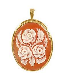 Roses Cornelian Cameo Pendant / Pin  - Del Gatto