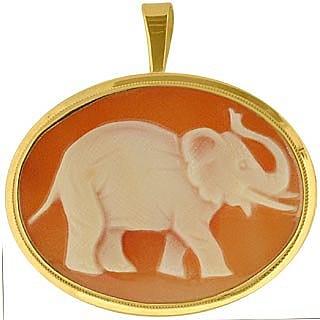 Elephant Cornelian Cameo Pendant / Pin  - Del Gatto