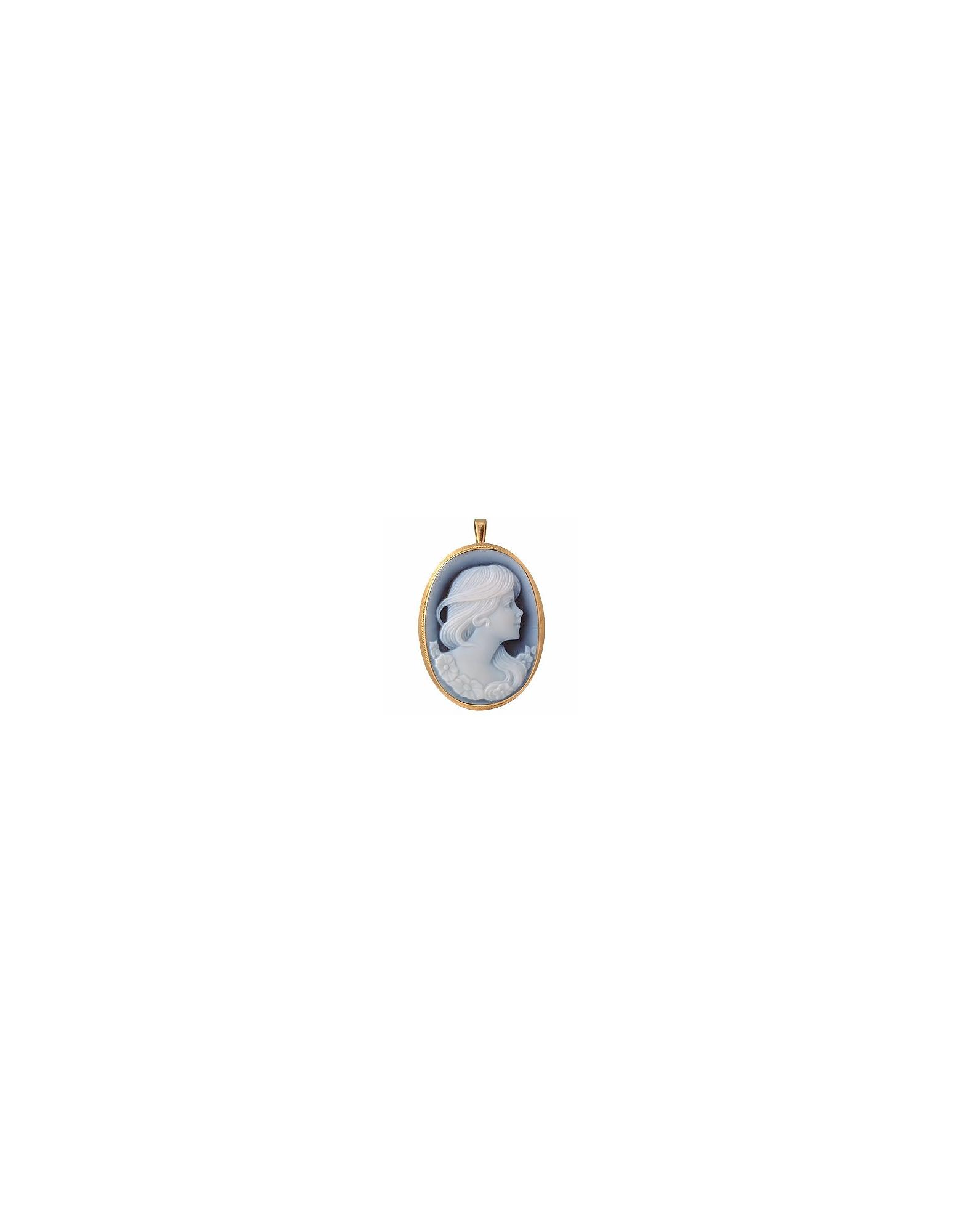 Del Gatto Designer Cameo, Agate Stone Cameo Pendant / Pin