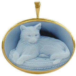 Cat Agate Stone Cameo Pendant / Pin