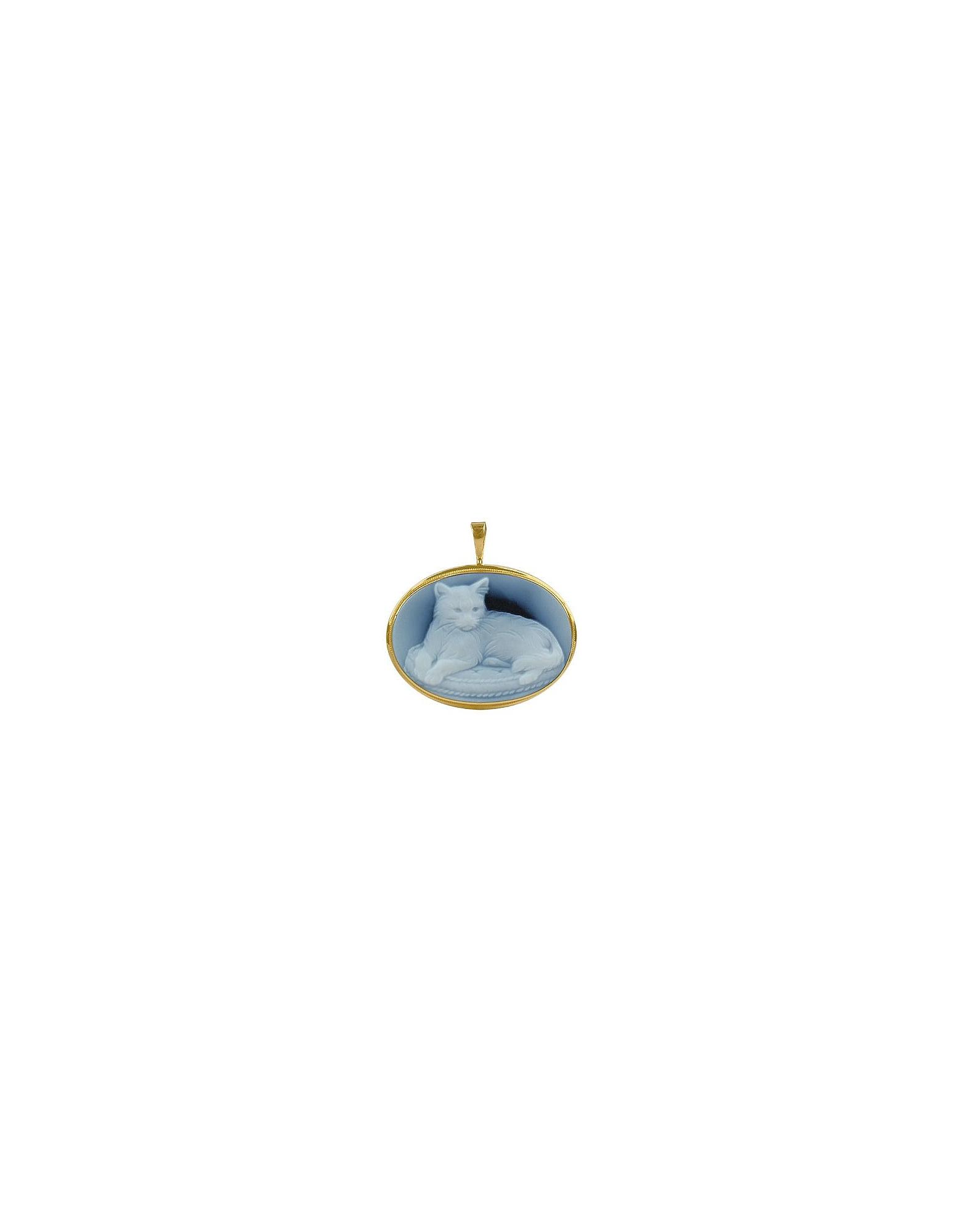 Del Gatto Designer Cameo, Cat Agate Stone Cameo Pendant / Pin