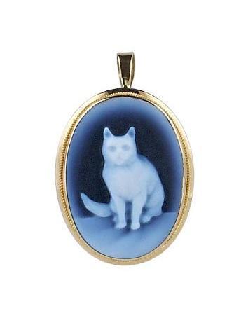 Del Gatto Cat Agate Cameo Pendant/Pin