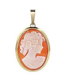 Young Lady w/Curls Cornelian Cameo Pendant - Del Gatto