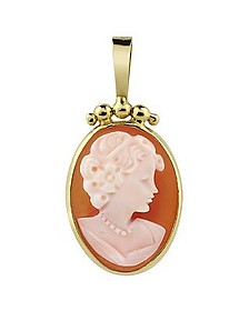Young Lady w/Short Hair Cornelian Cameo Pendant/Brooch - Del Gatto