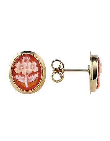 Flowers Cornelian Cameo 18K Gold Earrings