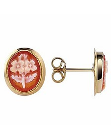 Flowers Cornelian Cameo 18K Gold Earrings - Del Gatto