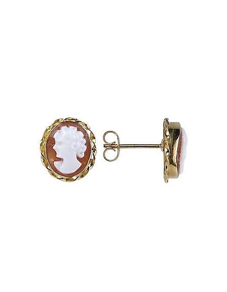 Del Gatto Boucles d'oreilles camées en or 750 et coquillage