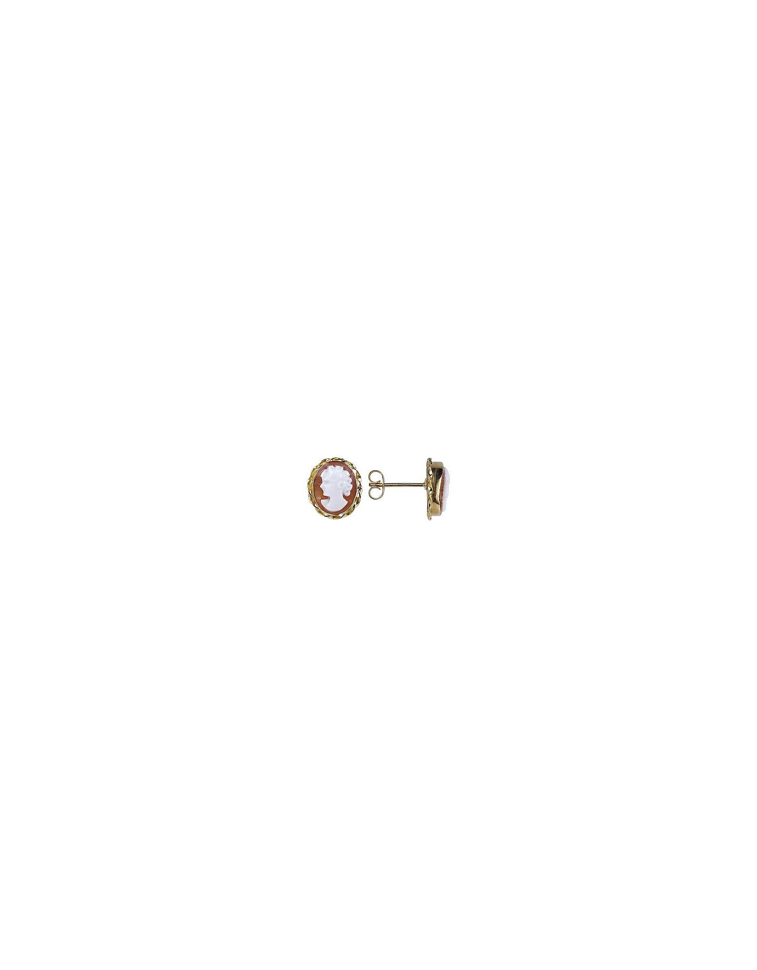 Del Gatto Cameo, Sardonyx Cameo 18K Gold Earrings