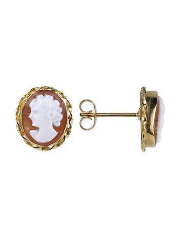 Del Gatto Sardonyx Cameo 18K Gold Earrings - FORZIERI
