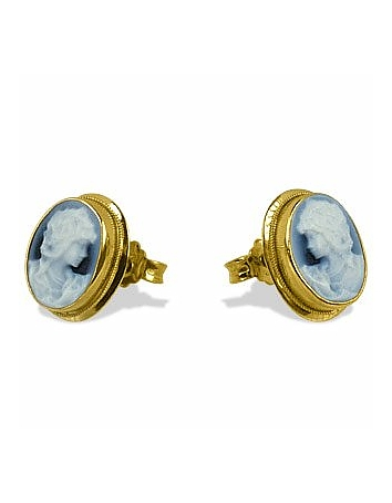 Del Gatto - Agate Stone Cameo Earrings