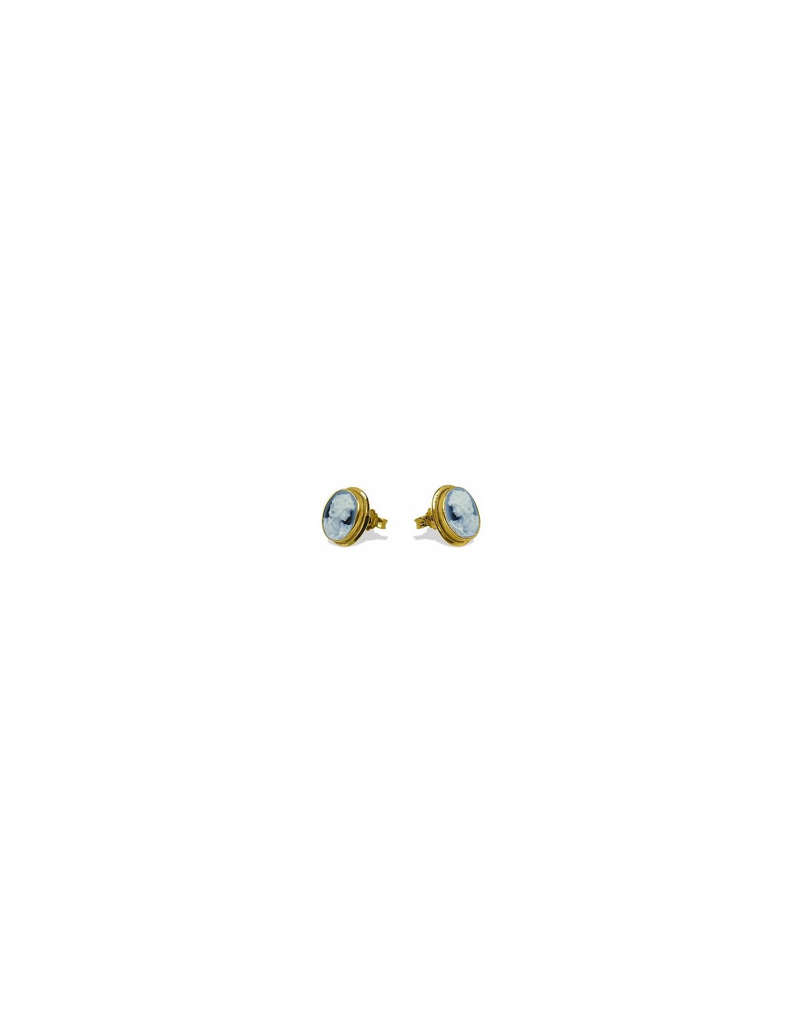 Del Gatto Cameo, Agate Stone Cameo Earrings