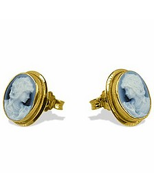 Agate Stone Cameo Earrings - Del Gatto