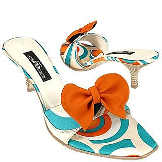 Optical Sky Blue Slide w/removable Ribbon Shoes - Alberto Gozzi