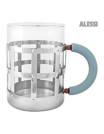 Alessi Mug en acier inoxydable à poignée bleue