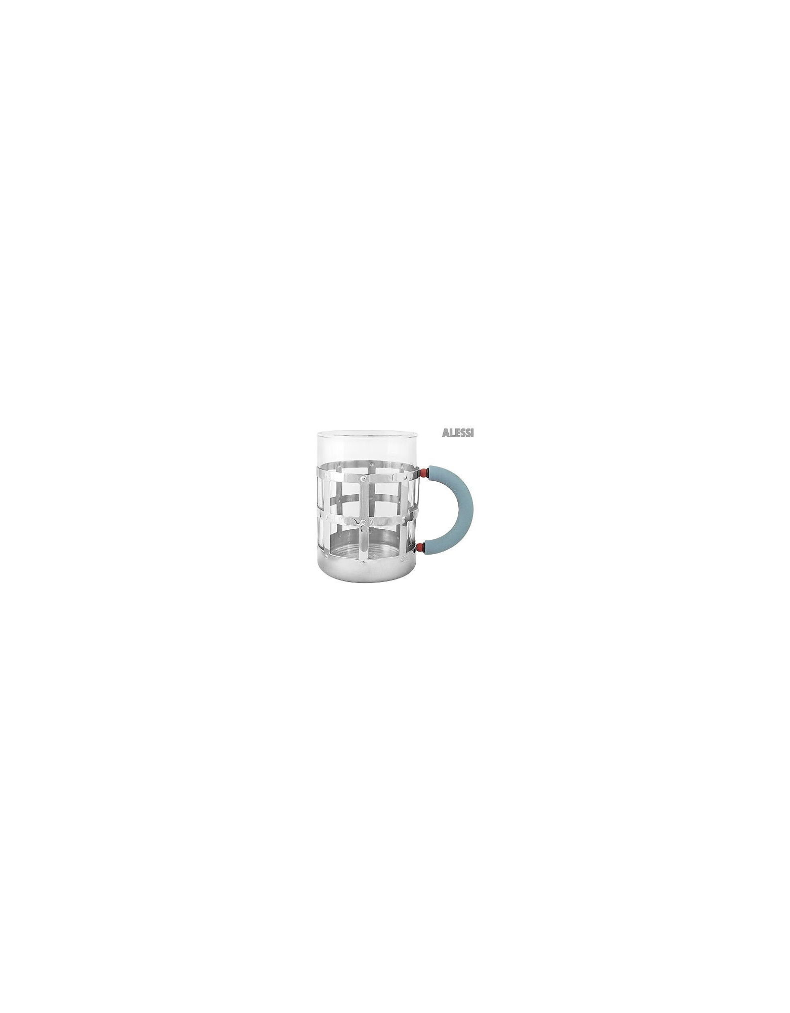 Alessi Designer Kitchen & Dining, Stainless Steel Mug with Blue Handle