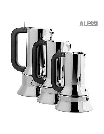 This beautiful espresso maker was the first Alessi object designed for the kitchen after the 30's by Richard Sapper and is on display in the Permanent Design Collection at the MOMA in New York. Made in Italy