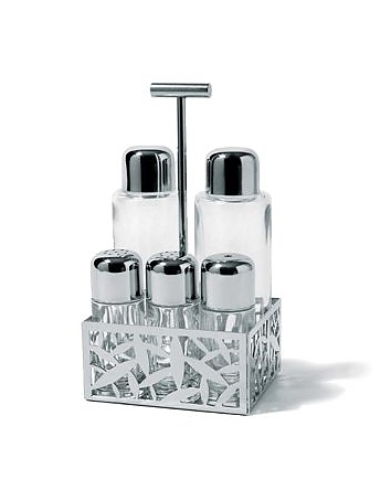 Alessi - CACTUS! - Pierced Stainless Steel Condiment Set
