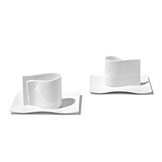 Alessi E-Li-Li - Set of 2 Mocha Cups w/Saucers :  holiday espresso forzieri modern