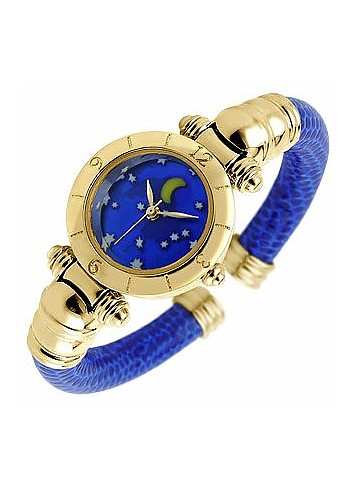 Accademia - Moon & Stars Blue Leather Gold Plated Cuff Watch - Antica Murrina