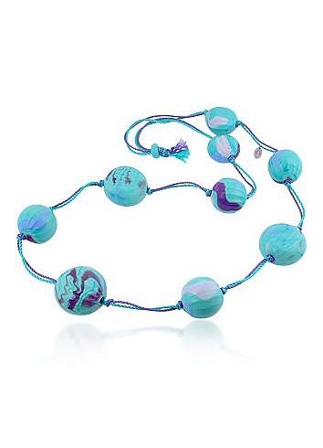 Tess - Turquoise Murano Glass Ball Opera Necklace - Antica Murrina