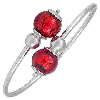 Antica Murrina Venere - Red Murano Glass Sterling Silver Bangle