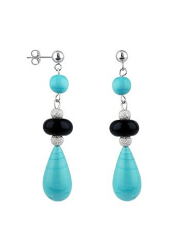 Vittoria - Turquoise Beaded Murano Glass Drop Earrings - Antica Murrina