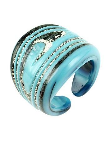 Antica Murrina Cayman - Turquoise and Silver Murano Glass Ring