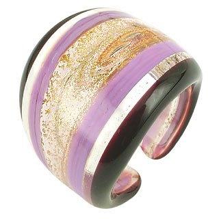 Antica Murrina Veneziana Cuba - Purple and Clear Murano Glass Fashion Ring