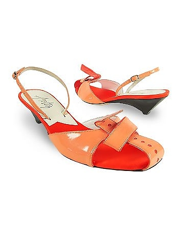 Coral Front Tie Patent Leather Slingback Shoes