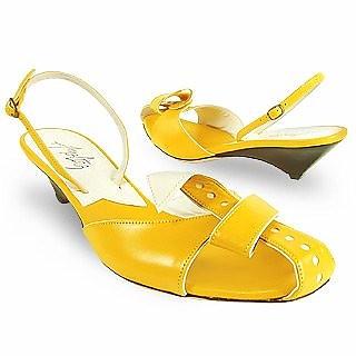 Lemon Front Tie Calf Leather Slingback Shoes - Amaltea