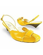 Lux-ID 206485 Lemon Front Tie Calf Leather Slingback Shoes