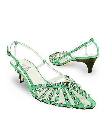Amaltea - Mint Studded Strappy Leather Pump Shoes