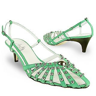 Mint Studded Strappy Leather Pump Shoes - Amaltea