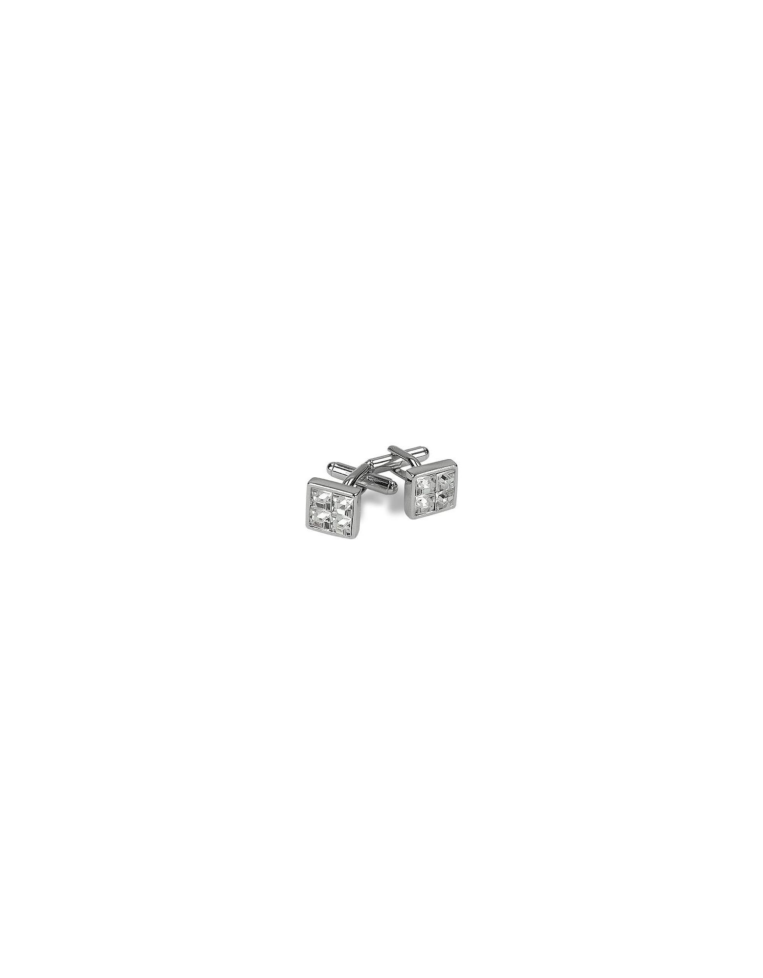 AZ Collection Cufflinks, Silver Plated Jeweled Cufflinks