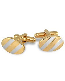 Gold and Silver Plated Oval Cufflinks - AZ Collection