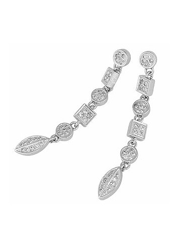 Silver-plated Crystal Earrings - AZ Collection