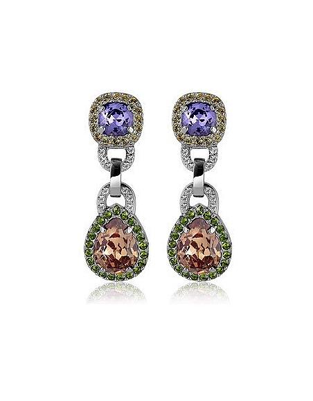 AZ Collection Boucles d'oreilles clips en cristaux Swarovski orange & violet